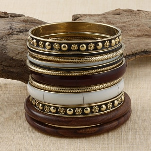 Traditional brass and wood bracelets