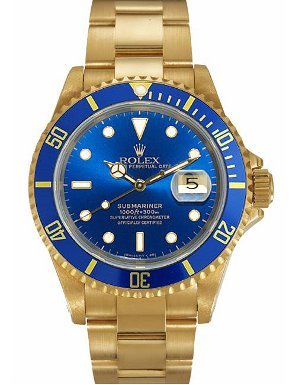 Pre-owned Rolex watch with a blue dial