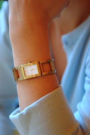 A stunning gold watch makes a great accessory