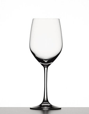 A solitary hand-blown white wine glass