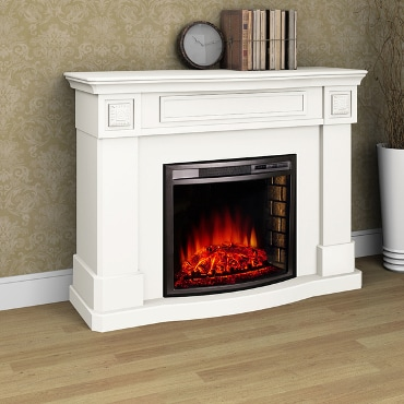 Electric fireplace and white mantel
