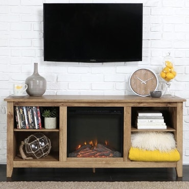Electric fireplace centered in wooden shelving