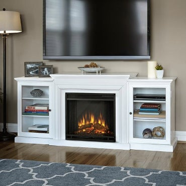 Electric fireplace in white shelving