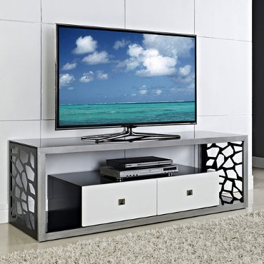 Contemporary, black-and-white TV stand