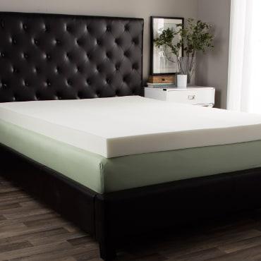 Memory foam topper on traditional mattress