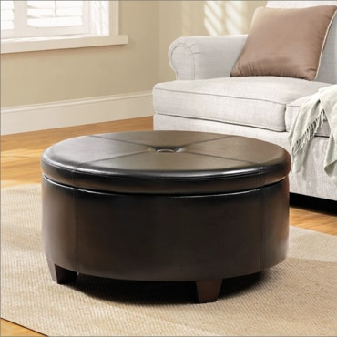 Round, button-top storage ottoman