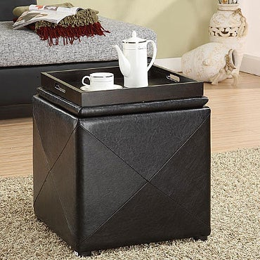 Storage cube ottoman with serving tray on top