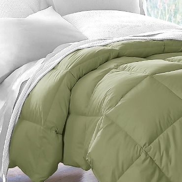 Olive-colored comforter on bed