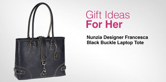 Gift Ideas for Her - Day 3 - Nunzia Designer Francesca Black Buckle Laptop Tote