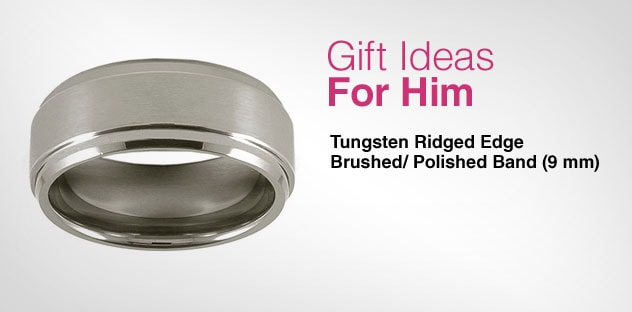 Gift Ideas for Him - Day 10 - Tungsten Ridged Edge Brushed/ Polished Band (9 mm)