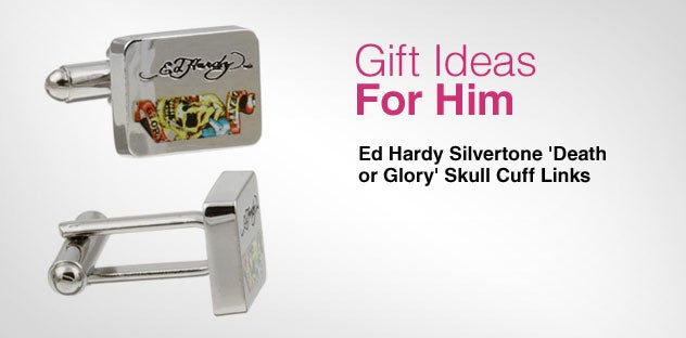 Gift Ideas for Him - Day 1 - Ed Hardy Silvertone 'Death or Glory' Skull Cuff Links