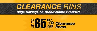 Clearance Bins. Up tp 65% off