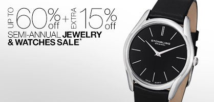 Up to 60% off + Extra 15% off Semi-Annual Jewelry & Watches Sale*