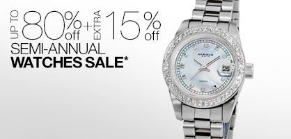 Up to 80% off + Extra 15% off Semi-Annual Watches Sale*