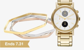 Gold Watch and Metallic Bracelets