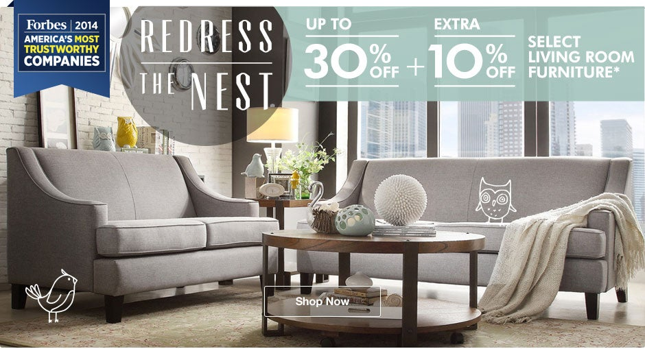 Up to 30% off + Extra 10% off Select Living Room Furniture*