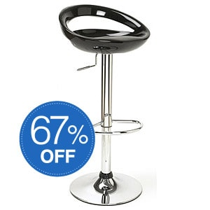 Glossy Black Low Profile Modern Barstool Sale: $49.49