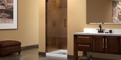 Dreamline Unidoor 30 in. W x 72 in. H Frameless Hinged Shower Door, Half Frosted Glass