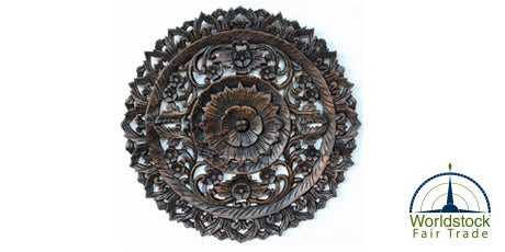 Round Black Stain/Dark-wax Finish Carved Lotus Recycled Teak Panel
