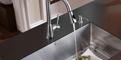 VIGO Undermount Stainless Steel Kitchen Sink, Faucet, Grid, Strainer and Dispenser