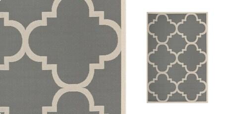 Safavieh Courtyard Grey/Beige Moroccan-Style Indoor-Outdoor Rug