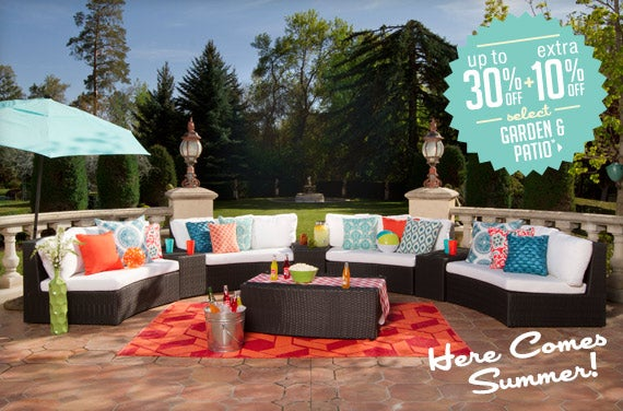 Up to 30% off extra 10% off select Garden & Patio