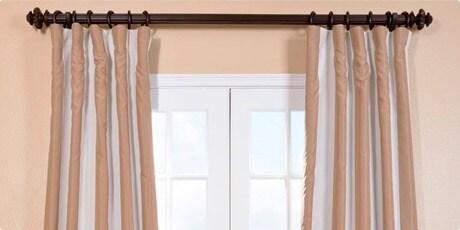 Ultra Lux Blackout Creme Nougat Taffeta Stripe Curtain Panel