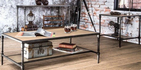 Furniture of America Loren Natural Industrial 3-Piece Accent Table Set