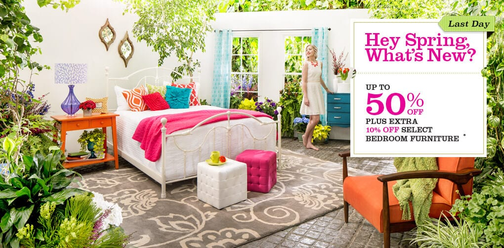 Last Day. Up to 50% off + Extra 10% off Select Bedroom Furniture*