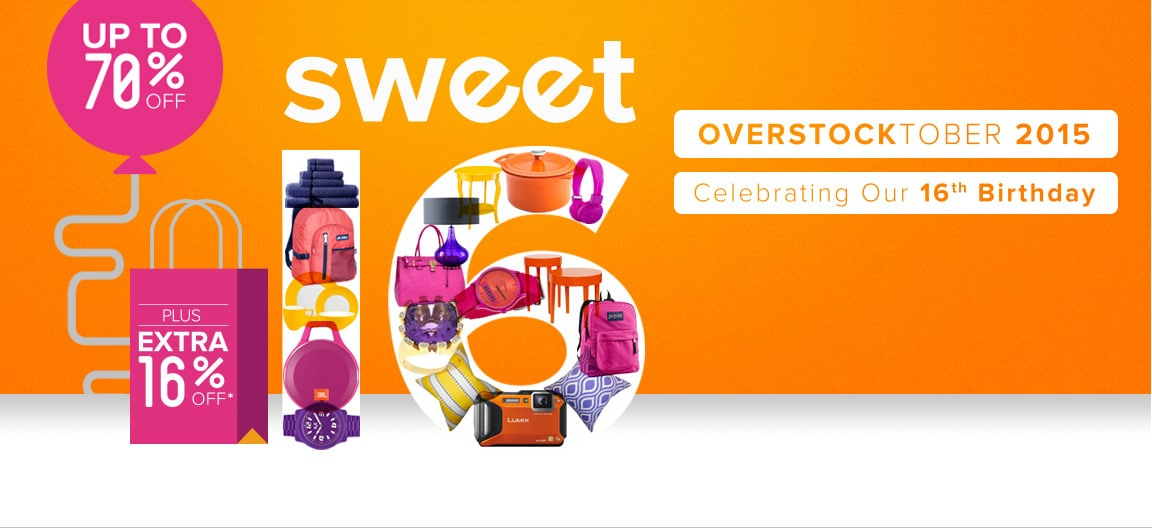 Up to 70% off + Extra 16% off Overstocktober Sale*