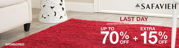Last Day. Up to 70% off + Extra 15% off Featured Area Rugs by Safavieh*