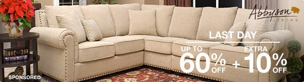 Last Day. Up to 60% off + Extra 10% off Featured Furniture by Abbyson Living*