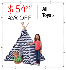 Discovery Kids Zig Zag Teepee Promo > Price: $54.99 > Was: $99.99 > 45% Off