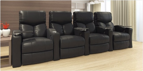 Octane Bolt XS400 Straight/ Manual Recline/ Black Bonded Leather Home Theater Seating (Row of 4)
