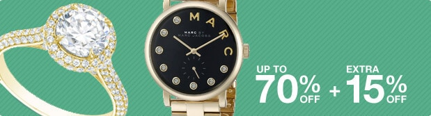 Up to 70% off + Extra 15% off Jewelry & Watches*