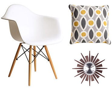 Retro Eames Style Molded Plastic White Armchair Set of 2, Ava Down and Feather Filled 20-inch Throw Pillow, Hans Andersen Home Geir Wall Clock