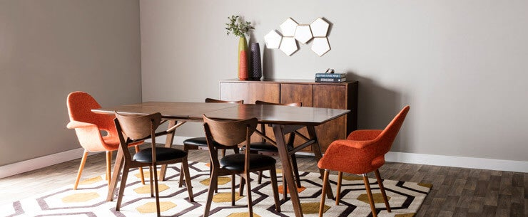 Mid-Century Modern Dining Room Open Space