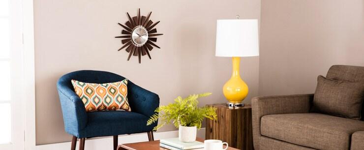 Mid-Century Modern Living Room Pop of Color
