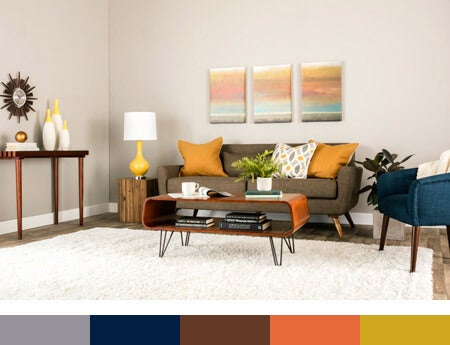 Mid-Century Modern Living Room Color Palette