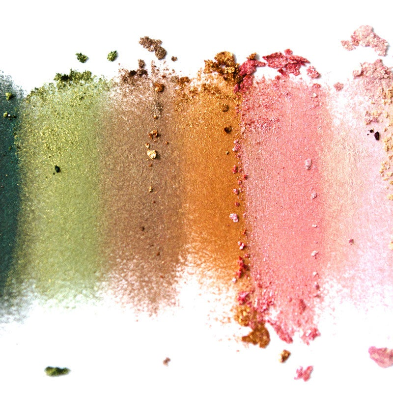 Multi-color eyeshadow palette on white background
