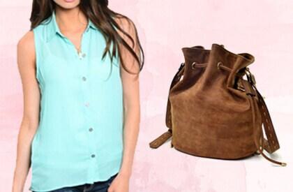 Blue Shirt & Brown Bag