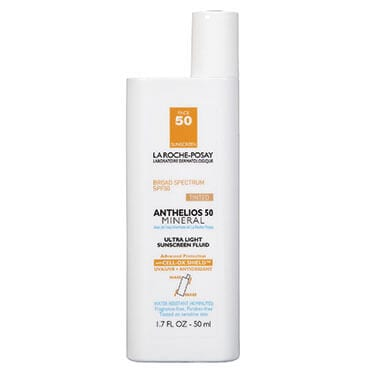 Bottle of sunscreen on a white background