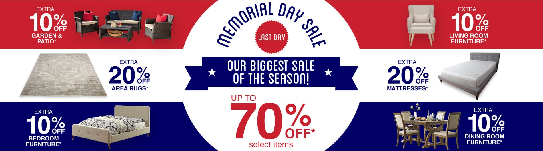 Memorial Day - Last Day Up To 70% Off*