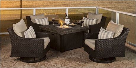 RST Brands Cannes 5-piece Motion Fire Chat Set in Bliss Blue