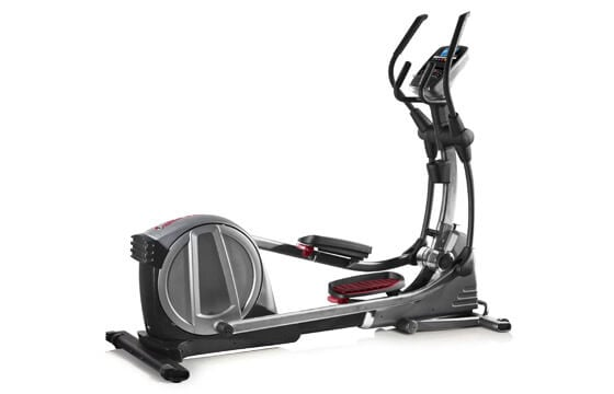 Silver, black, and red elliptical machine