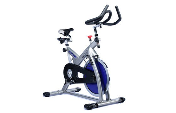 Silver, and blue stationary bike