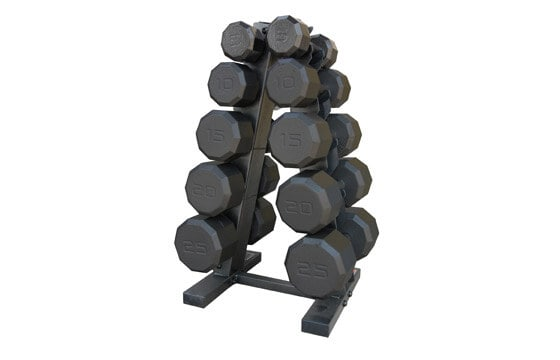 Set of black dumbbells on rack