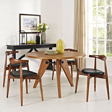 Dining room set with walnut wood and black upholstered seats