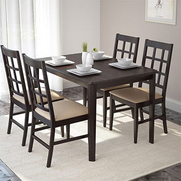 A dark brown dining room set in a peaceful, dining setting.