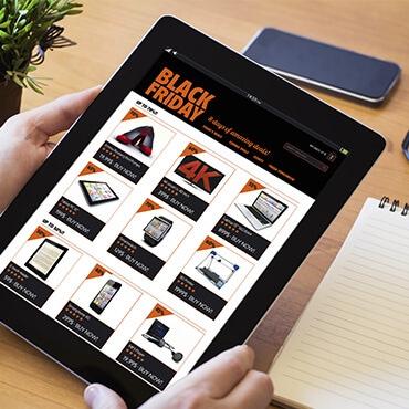 Black Friday advertisement on tablet